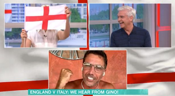 Holly, Phil and Gino on This Morning with an England flag