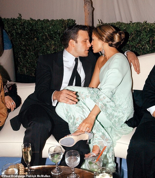 True love: The pair split after two years together in 2004 but this time around they are reportedly feeling 'blessed to have found each other and discovered true love'; pictured March 2003