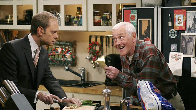 Saying goodbye: Grammer also said the show planned to address the loss of actor John Mahoney, who played Frasier's father Martin Crane and died in 2018 'We intend to deal with that some in the first episode'; still from Frasier