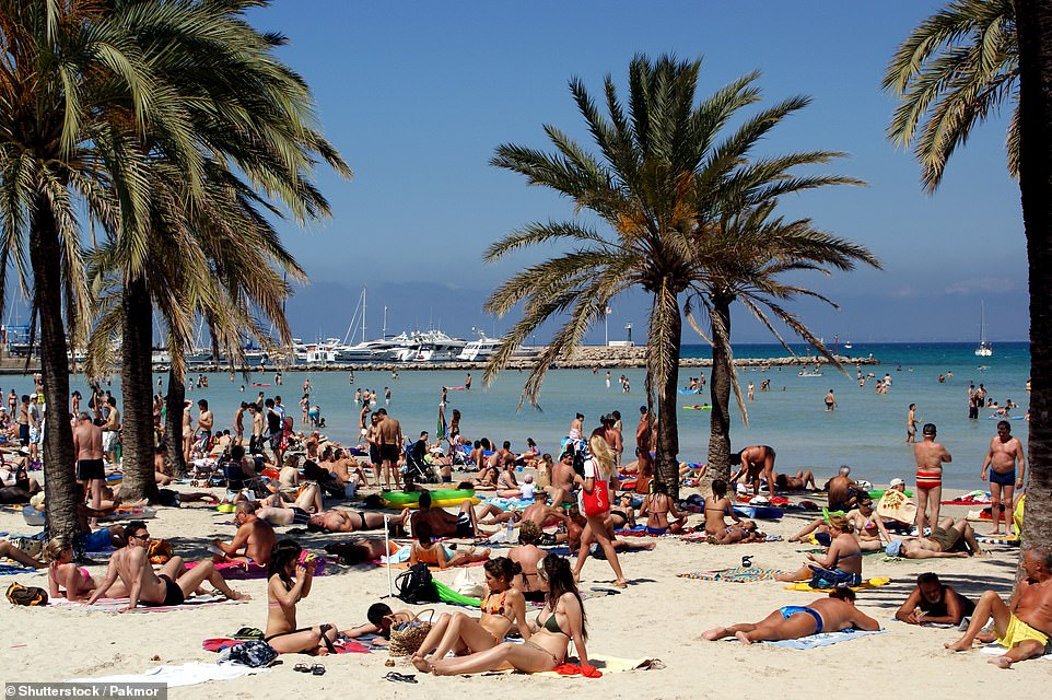 British favourites Ibiza, Majorca (pictured) and Menorca have all been upgraded to the amber list amid surging infection numbers across the archipelago