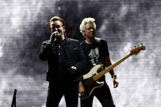 (L-R) Bono and Adam Clayton of U2 perform at the Gocheok Sky Dome on December 08, 2019 in Seoul, South Korea