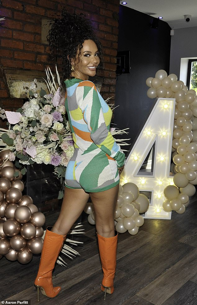 Fashion favourite:The Hollyoaks star slipped into a skintight knitted playsuit with a green geomatric print as she arrived for her little girl's party