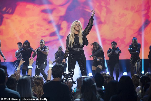 Not a fan:Britney appeared to be referencing to Jamie Lynn's surprise performance at the 2017 Radio Disney Music Awards, which capped off a tribute to the pop star with a performance of Till The World Ends