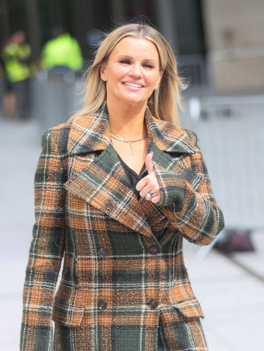 BGUK_2134483 - London, UNITED KINGDOM - Kerry Katona looks in good spirits as she makes a stylish exit from Morning Live TV in London in her tartan jacket. Pictured: Kerry Katona BACKGRID UK 26 MAY 2021 UK: +44 208 344 2007 / uksales@backgrid.com USA: +1 310 798 9111 / usasales@backgrid.com *UK Clients - Pictures Containing Children Please Pixelate Face Prior To Publication*