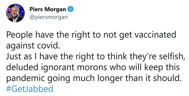 Piers branded them 'deluded' and 'ignorant morons'