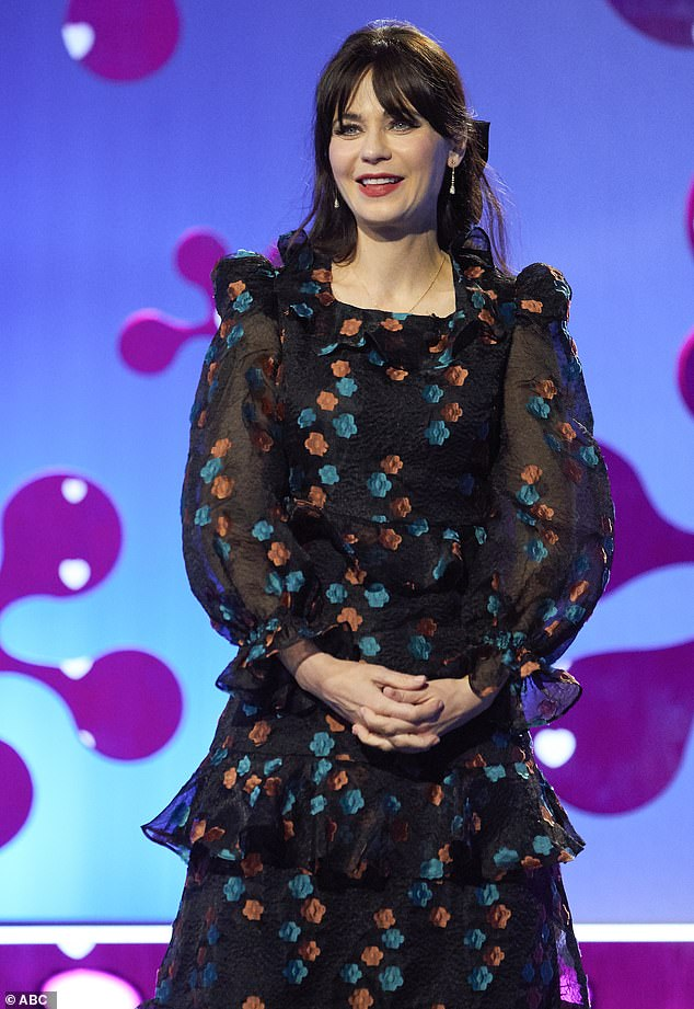 Funny lines: Zooey kept the one-hour show moving with some funny zingers