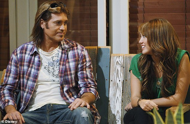 Family business: Years later Miley rose to fame while appearing with him on the Disney Channel sitcom Hannah Montana (pictured) which ran from 2006 to 2011