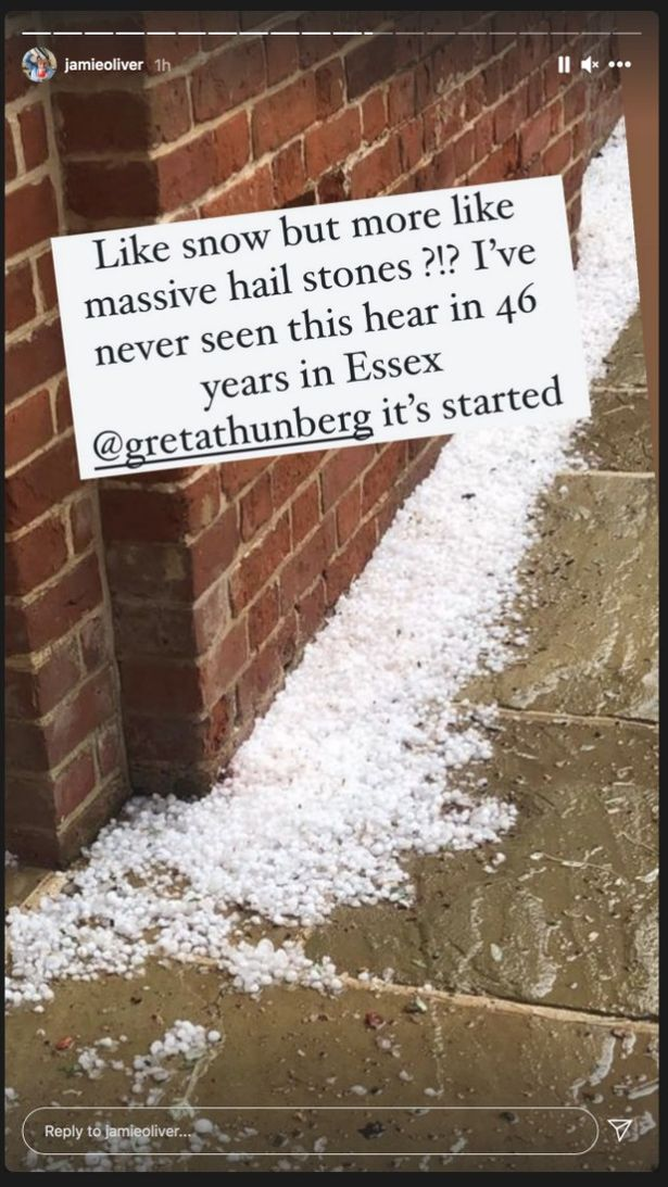 Jamie said he had never seen hail like it in all his life