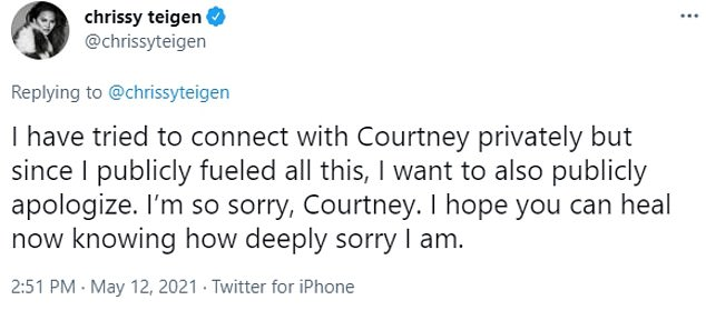 Teigen addressed her past conduct toward Stodden in a series of tweets this past May
