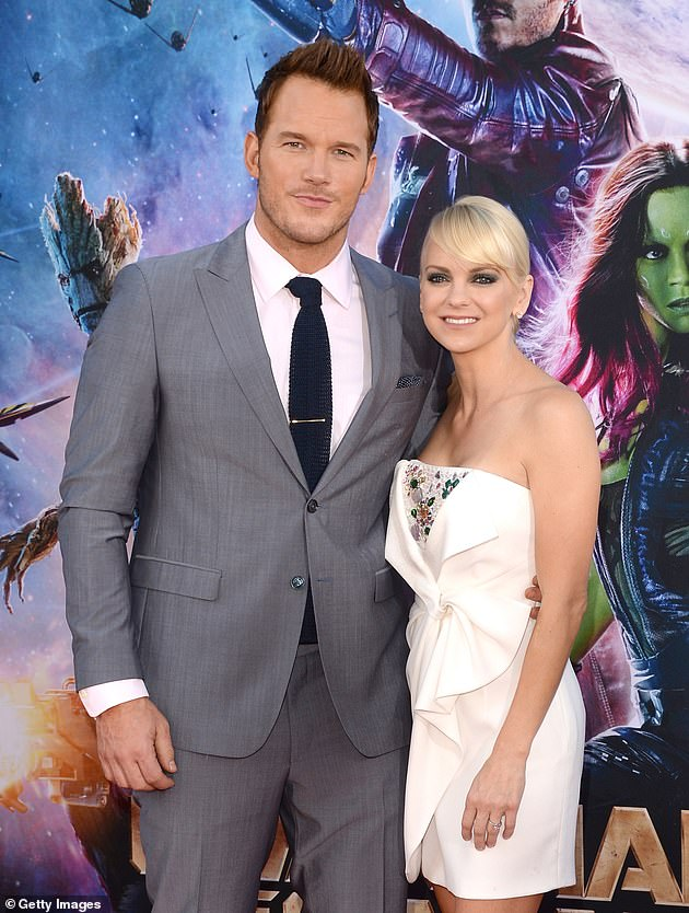 Former flame: Anna was previously married to actor Chris Pratt, who she shares eight-year-old son Jack with; Chris and Anna pictured in 2014