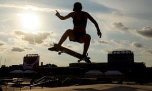 Julia Brueckler performs a stunt during a practice session at the Ariake Urban Sports Park.
