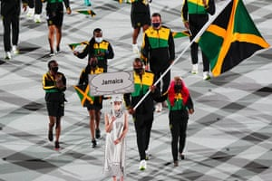 Olympic delegation of Jamaica parade into Olympic Stadium during the opening ceremony.