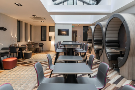 The common area of one of the hotels