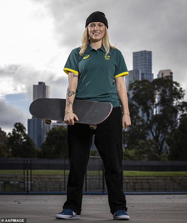 Top of the sport: The 19-year-old (pictured this month) is currently the Australian Skateboarding League's national champion, holding the title for four consecutive years