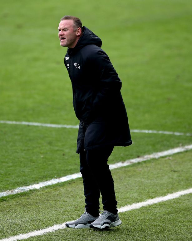Derby manager Wayne Rooney shouts at his players