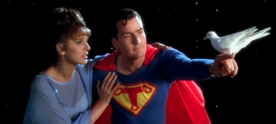 Valeria Golino and Charlie Sheen in a Superman skit from Hot Shots! (20th Century Fox)
