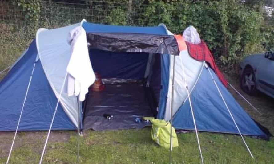 Clare Lawrence's tent in Dorset, 2010.
