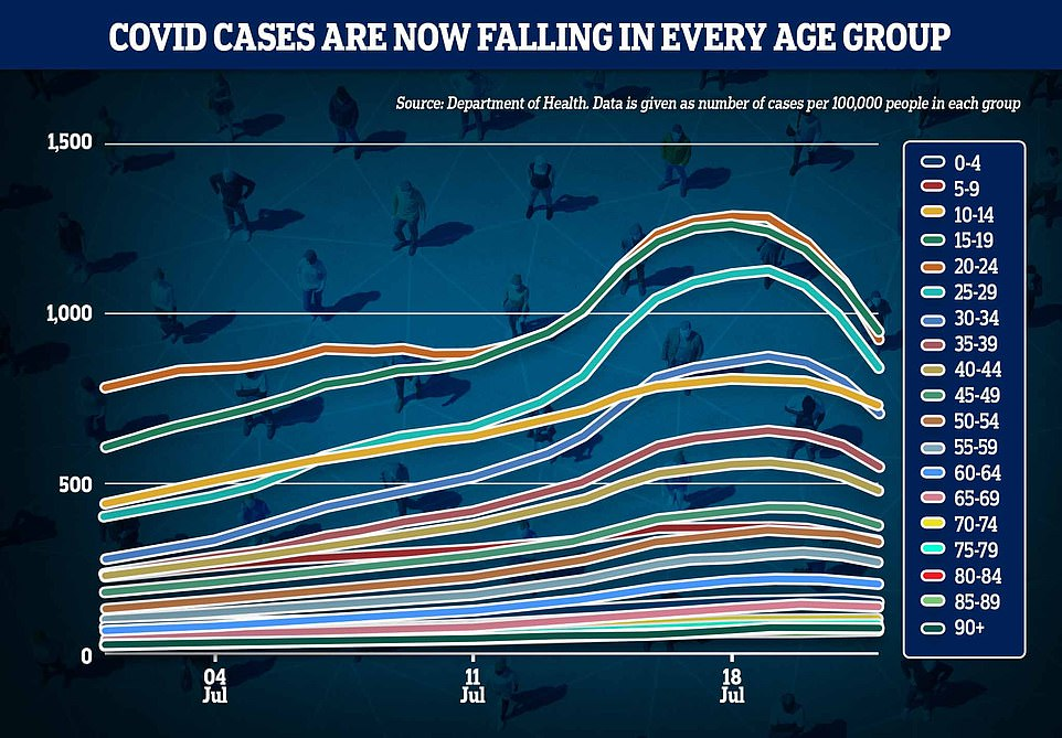 This graph shows the seven-day Covid infection rate by age group since the start of June. It reveals cases are dipping in all age groups including older adults. It is difficult to see some lines bending downwards on the graph because of the different infection rates between age groups. Those aged 15 to 19 had the most cases (green) followed by 20 to 24 year olds (orange)