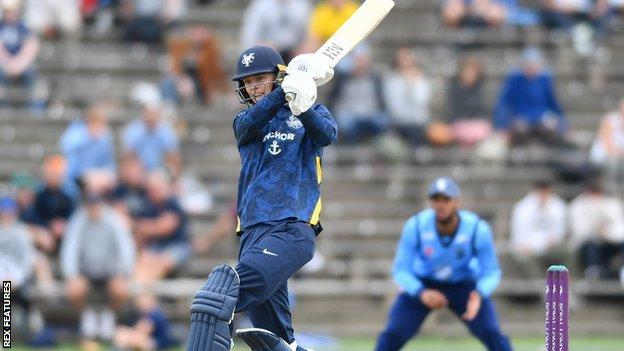 Will Luxton hit five fours and two sixes on his 68 off 85 balls on his Yorkshire debut