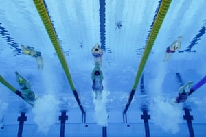 Allison Schmidt of the United States swims the first leg of the women's 4x200-meter freestyle relay.