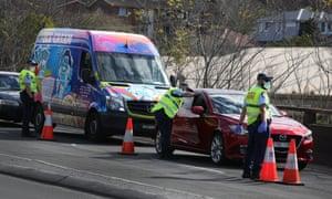 Police conduct roadside checks on drivers heading onto the Anzac Bridge