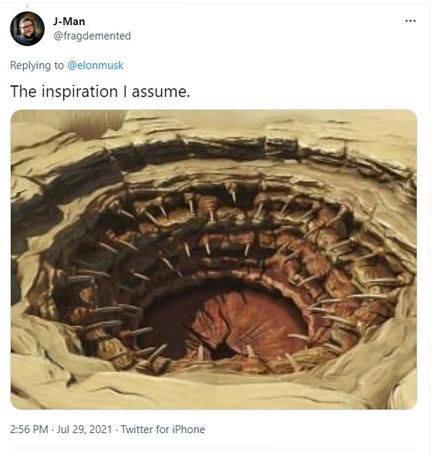 The photograph highlights a maze of connecting fuel lines that one Twitter user suggests looks like Sarlacc – an alien beast buried in the Great Pit of Carkoon, with only a mouth full of teeth visible