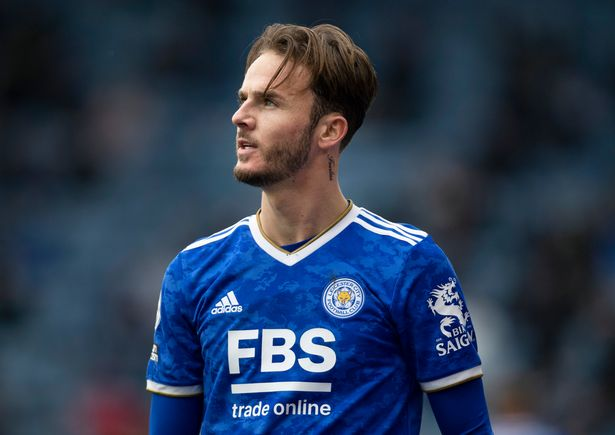 James Maddison of Leicester City during the Premier League match between Leicester City and Tottenham Hotspur at The King Power Stadium on May 23, 2021 in Leicester, England.