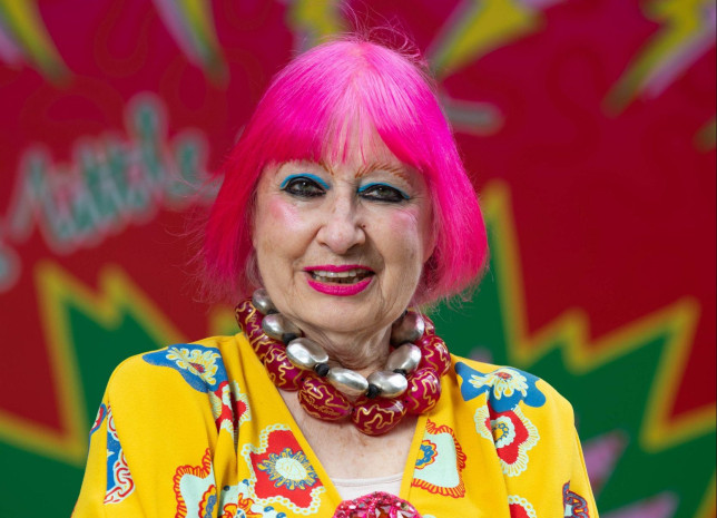 EDITORIAL USE ONLY Dame Zandra Rhodes unveils custom street art designs in Seven Dials, London. PA Photo. Issue date: Tuesday September 1, 2020. The vibrant installations are to celebrate the community and safe return of visitors to the area as COVID-19 lockdown lifts, encouraging shoppers and restaurant-goers to revisit the area, under new social-distancing measures. Photo credit should read: David Parry/PA Wire