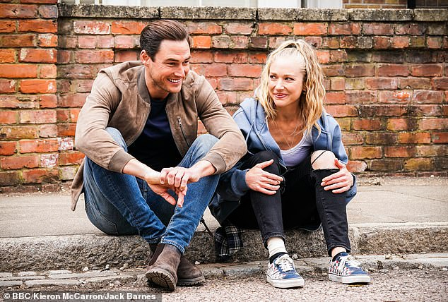 Flirting: Romance is brewing between Zack Hudson (James Farrar) and Nancy Carter (Maddy Hill) on EastEnders as the pair get closer in scenes set to air this Thursday