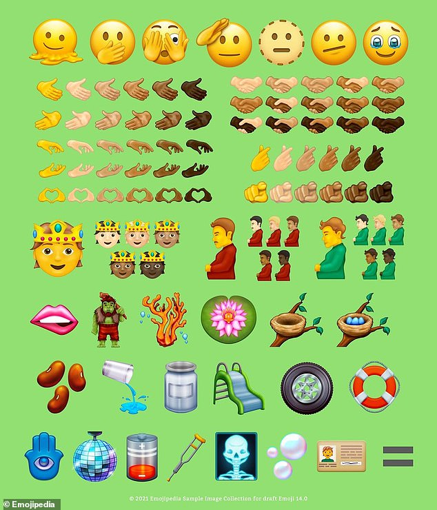 The 'version 14.0' list of new emoji also includes a motorcycle tyre, a slide, a disco ball, a troll with club and several different versions of a royal member wearing a crown, which vary by skin colour.