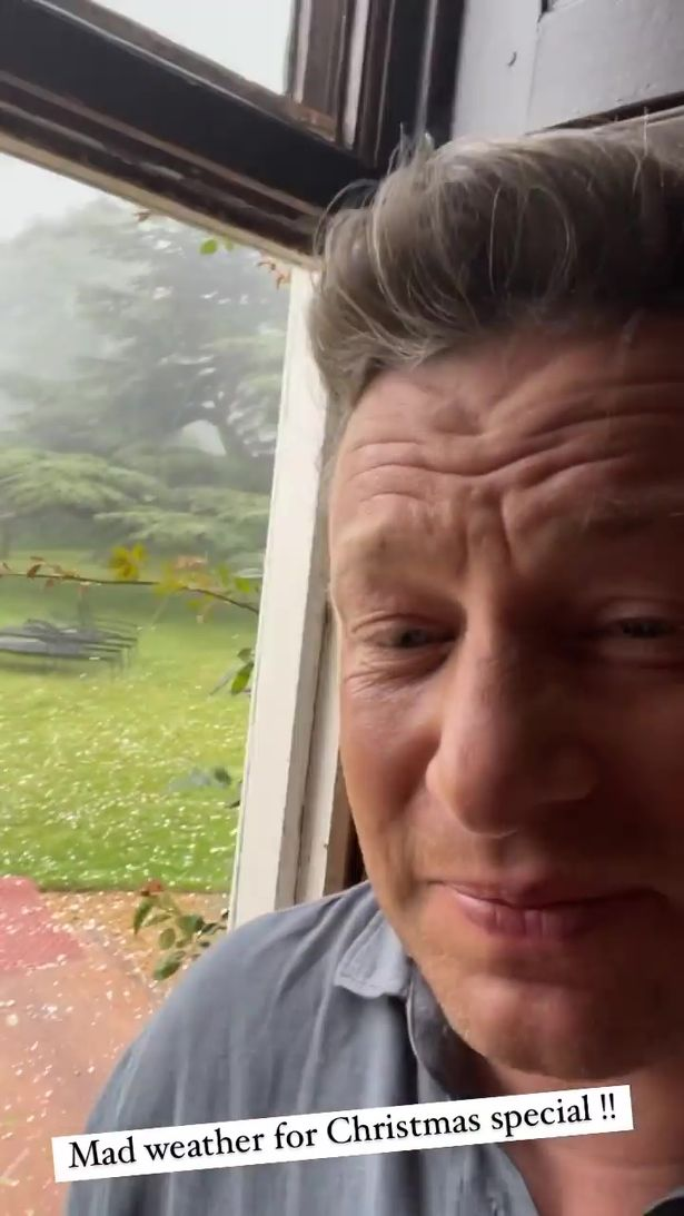 Jamie Oliver was filming his Christmas episode when 'mad weather' hit