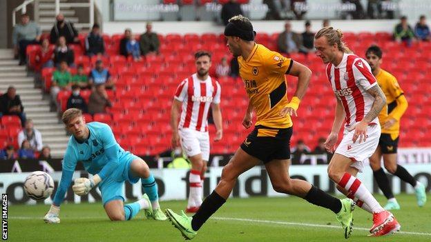 Raul Jimenez scoring against Stoke