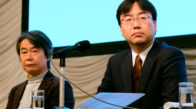 Shigeru Miyamto and Nintendo president Shuntaro Furukawa