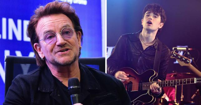 U2 rocker Bono and his son Elijah Hewson of Inhaler