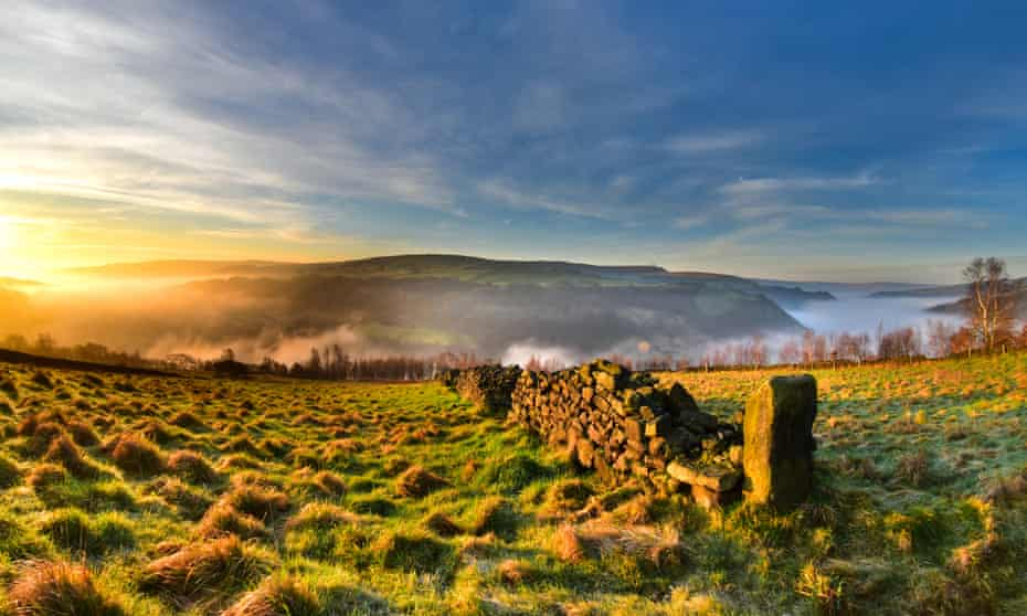 Sunrise in the Calder Valley viewed from Heptonstall.