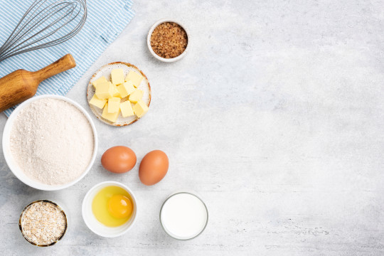 Baking ingredients eggs flour butter sugar