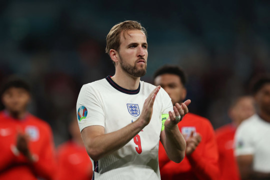 Harry Kane of England applauds the fans following defeat in the UEFA Euro 2020 Championship Final between Italy and England at Wembley Stadium on July 11, 2021 in London, England.