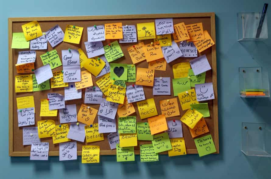 A pinboard with notes of comments and thanks to the Embrace team