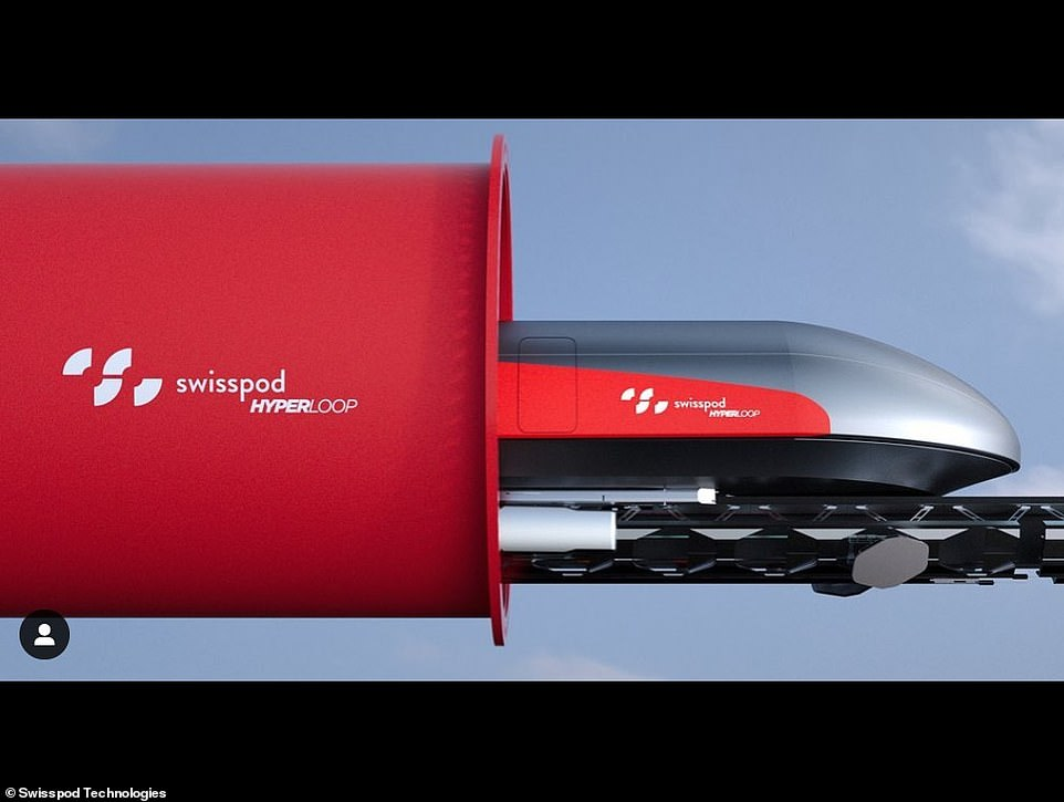The interior and exterior of the moving vessels, as well asthe huge underground tubes, will feature a minimalist red and white design in a nod to Switzerland's national flag