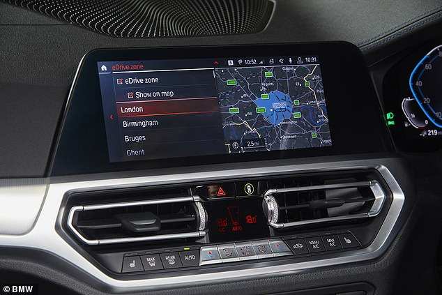 BMW has a system built into its latest-generation plug-in hybrid cars that can detect when they are being driven into an 'e-zone' and switch to pure electric power - given there's enough charge in the battery to do so