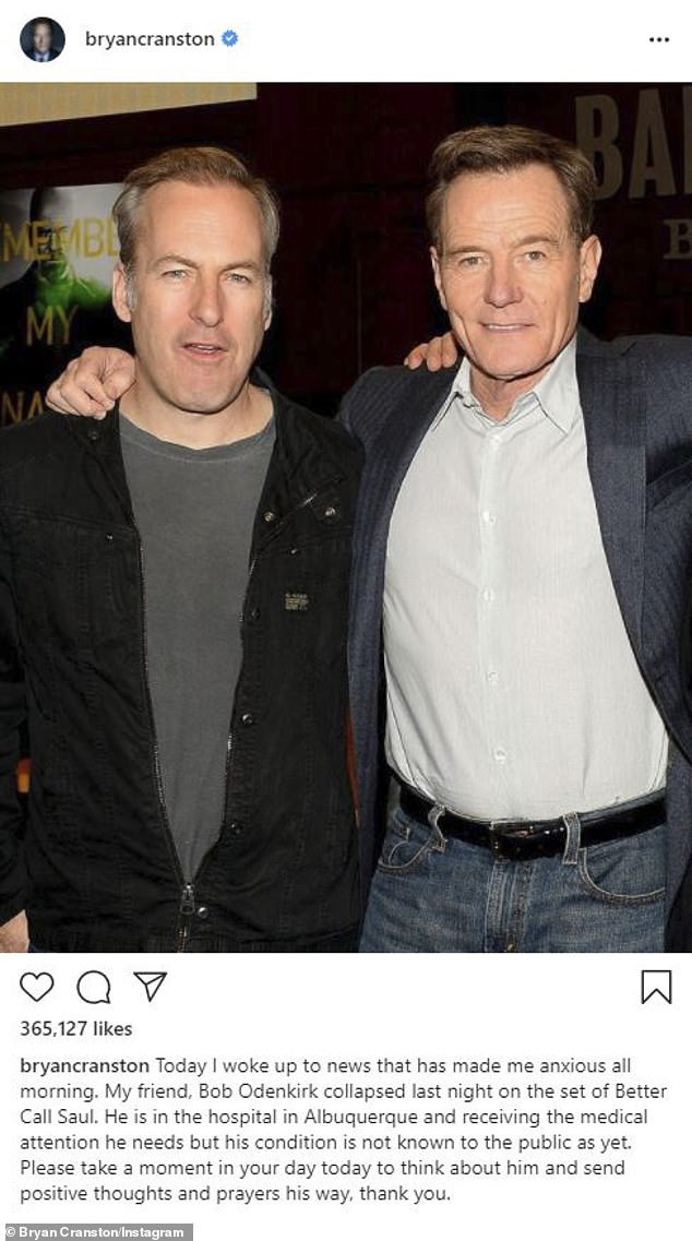 Well wishes: In July Breaking Bad costar Bryan Cranston confirmed the news that Odenkirk was hospitalized in an Instagram post asking fans for 'positive thoughts and prayers'
