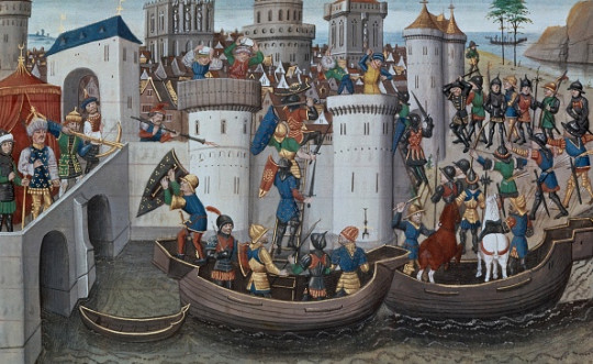 Constantinople besieged by Crusaders in 1204 - Short treatise on the emperors, painting by David Aubert, 15th century.