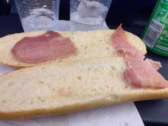 Sad looking bacon sandwich