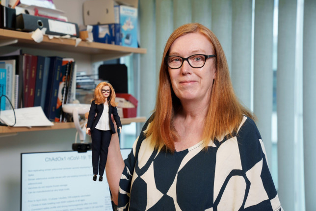 Dame Sarah Gilbert with the Barbie doll in her likeness