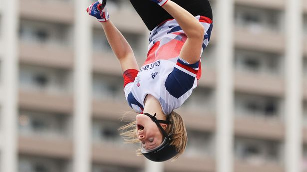 Worthington executes her 360 back flip, a first in women's BMX freestyle