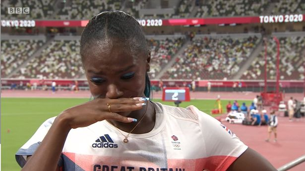 Asher-Smith in tears during post-race interview with BBC
