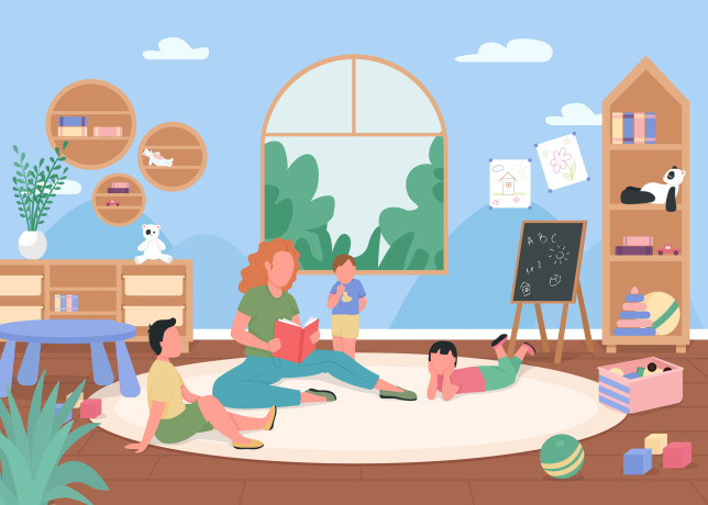 Kindergarten playroom flat color vector illustration
