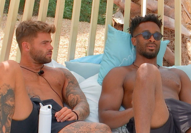 Editorial Use Only. No Merchandising. No Commercial Use. Mandatory Credit: Photo by ITV/REX/Shutterstock (12235418h) Jake Cornish and Teddy Soares. 'Love Island' TV show, Series 7, Episode 27, Majorca, Spain - 28 Jul 2021 Tyler and Clarisse Discuss Sleeping Arrangements Faye Admits Doubts Over Teddy Chloe and Dale Take the Next Step Hugo Kisses Amy Liam and Lillie Put Cards on the Table Main Villa Receives Postcard From Casa