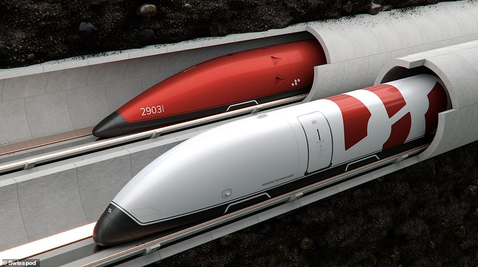 Swisspod is a Hyperloop startup founded in 2019. Its passenger pods, pictured here in an artist's impression,will be capable of transporting passengers at high speeds
