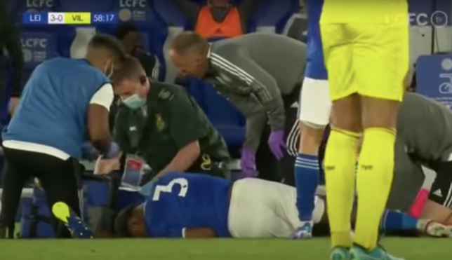 Wesley Fofana receives treatment after injury in Leicester's pre-season clash with Villarreal